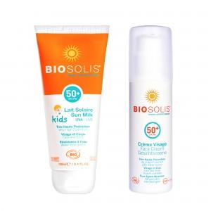 親子夏日防曬組【Biosolis】寶貝高效防曬乳SPF50+ 100ml+臉部高效防曬隔離乳 SPF50+ 50ml