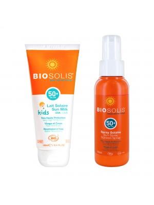 親子夏日防曬組【Biosolis】寶貝高效防曬乳SPF50+ 100ml+水感高效防曬噴液 SPF50+ 100ml