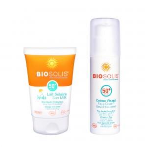 親子夏日防曬組【Biosolis】寶貝高效防曬乳SPF50+ 50ml+臉部高效防曬隔離乳 SPF50+ 50ml