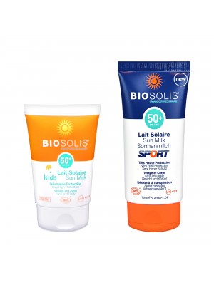 親子夏日防曬組【Biosolis】寶貝高效防曬乳SPF50+ 50ml+柔潤高效防曬乳 SPF50+ 75ml