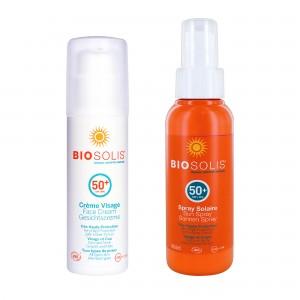 夏日防曬特惠組【Biosolis】臉部高效防曬隔離乳 SPF50+ 50ml+水感高效防曬噴液 SPF50+ 100ml