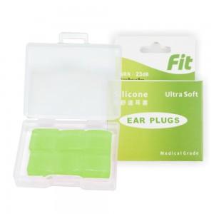【FIT】矽膠耳塞〈綠色.6入〉舒適無痛/柔軟可塑/隔音防噪/睡眠 工作 讀書 游泳 飛行 皆適用(內附收納盒)